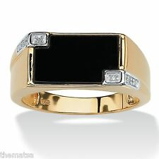 MENS 14K GOLD STERLING SILVER ONYX DIAMOND ACCENT RING SIZE 8,9,10,11,12,13,