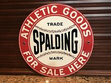 SPALDING basketball Athletics advertising sign round thick Vintage Style