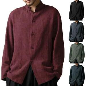 Mens Breathable Tang Suit Tai Chi Kung Fu Jacket Chinese Style Cotton Linen Tops