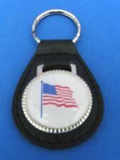 USA FLAG PATRIOTIC LEATHER KEYCHAIN KEY CHAIN RING FOB #077