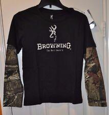 Youth unisex Browning Buckmark Mossy Oak Black Hazin Long Sleeve Shirt Size M-XL