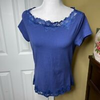 Coldwater Creek Blue Lace Short Sleeve Top M