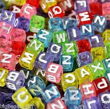100pcs   7mm cube assorted alphabet  letter acrylic beads