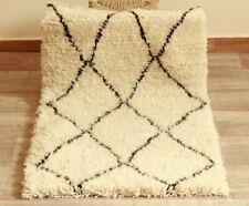 Authentic Moroccan Rug Beni Ouarain Vintage Handwoven Berber Wool Beige Rug