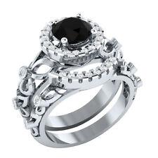 Certified 2.50Ct Black Spinal & White Sapphire 14K White Gold Bridal Ring Set