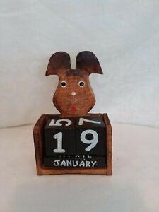 Wooden perpetual calendar, bunny rabbit motif, decorative, handmade, wood