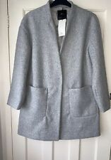 Zara Grey Loose-fitting Inverted Lapels Coat With Hidden Snap Button Size L