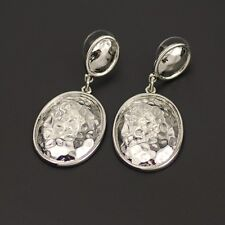 Chico's jewelry polished silver tone woman earrings stud drop dangle hammered