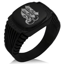 Stainless Steel Mens Royal Monogram Initial CZ Striped Biker Black Signet Ring