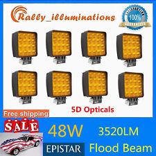 "8X 4"" 48W LED Emergency Work Light Bar Truck Car Driving Lamp FLOOD Amber Yellow"