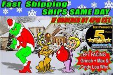 Grinch Stealing Christmas Light Yard Art Left Facing Grinch Max Cindy Free Ship