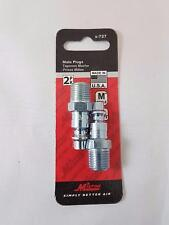 """Milton Industries 2 Pack M Style 1/4"""" Male Style Plug Air Inlet Adapter 727"""