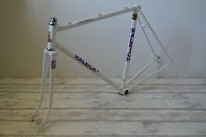 "Vintage 1986 Raleigh Milk Race White Steel Road Bike Frame & Fork 21"" 53.5cm"