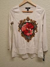 Style & co Petite Long Sleeves Chiffon Hilo Top 25320 Rose Romance PS