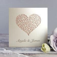 Heart Lace Laser Cut Personalised Handmade Luxury Wedding Day Invitations Sample