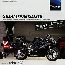 Triumph Motorrad Preisliste 1 09 2009 Tiger 1050 Sprint ST Rocket 3 Speed Triple