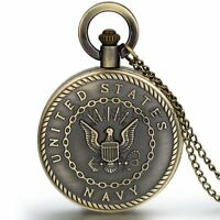Men Vintage Classic United States Marine Corps Navy Quartz Pocket Watch Necklace