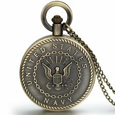 Men Vintage Classic United States Marine Corps Navy Quartz Pocket Watch Necklace