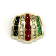 1.50 TCW Ruby, Sapphire, Emerald & Diamond Slide Pendant Solid 14k Yellow Gold