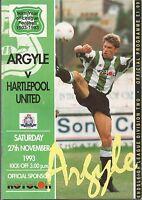 Football Programme - Plymouth Argyle v Hartlepool United - Div 2 - 27/11/1993