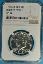 1966 SMS DDO Kennedy Half Dollar NGC MS67- Doubled Profile, Bold Doubling, Sharp