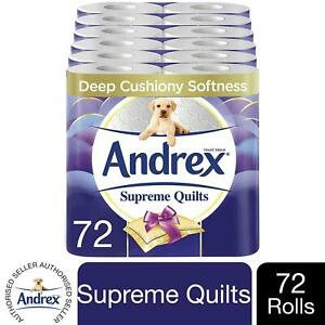Andrex Toilet Roll Supreme Quilts Fragrance-Free 3 Ply Toilet Paper, 72 Rolls