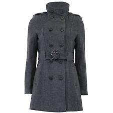 Ladies Wool Coat Womens Jacket Double Breasted Belt Epaulette Military Winter