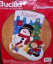 "Bucilla ""FROSTY AND FRIENDS""Felt Christmas Stocking Kit Vintage 33187 15"" Rare"