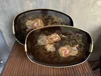 VTG Set Of 2 Nesting Rich Brown Lacquer Ware Japanese Fan Serving Trays