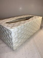 Quilted Ceramic Large Tissue Box Cover Signed E Evans Cream Color