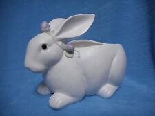 Fitz And Floyd White Bunny Rabbit Magnolia Blossom Ceramic Planter Flower Pot Ec