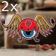 2x Stück Flying Helmet Aufkleber Sticker Autocollante Old School Hot Rod 60mm