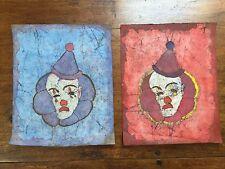 2 Vintage Mid Century Batik Clown Paintings Lilliana Young Art Textile