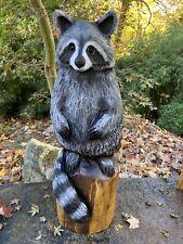 RACCOON Chainsaw Carving Black Walnut Wood RACCOON Statue UNIQUE Art Sculpture