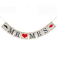 Mr & Mrs lips and mustache barn wedding party banner garland photo props A9P7