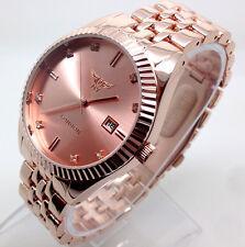 250A Hot Disigner Men Luxury Dress Wrist Watch Rose Gold Strap Quartz Date Dial
