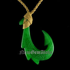 Hawaiian Hand Carved Design Polynesian Jade Makau Fish Hook Pendant Necklace