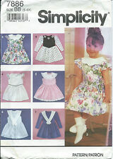 S 7886 sewing pattern DRESS Collar Sleeve Variations sew Cute sizes 5,6,6x UNCUT