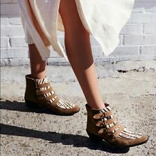 Free People Ranger Ankle Boot Tan Woven detailing Suede Cow Fur Size 38  $198
