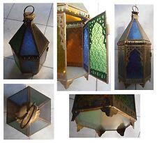 Lampada altezza cm 40 metallo giallo vetri colorati artigianato Africa Marocco