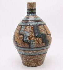 Mid Century Mod Vtg Terra Cotta Pottery Hand Paint Glaze Art 8 Vase Italy Rustic
