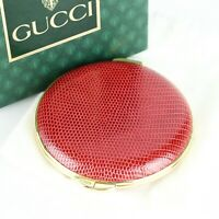 GUCCI Vintage Compact Mirror Pressed Powder Case Holder Lizard Leather Red