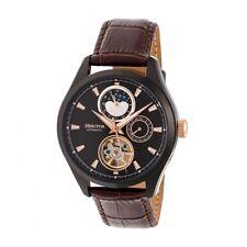 Heritor Automatic Sebastian Semi-Skeleton Leather Band Watch  - Black/Brown
