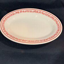 "Vintage Red & White Floral 12 1/2"" Buffalo China Restaurant Platter"