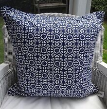NAVY AND WHITE TILE DESIGN CUSHION COVER 50 X 50CM - SCATTER, THROW CUSHION COV