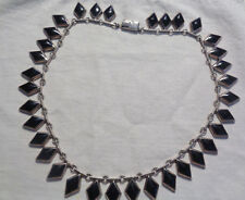 HVY TAXCO ARTIST TN 181  NECKLACE BLACK ONYX DIAMOND SHAPE STONES  76 GRAMS