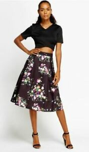 'Collection London 'Ladies Skirt - Floral print/black background - Size 16 - New