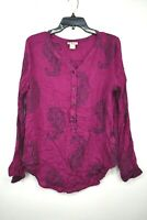 Lucky Brand Womens Pink Floral Print 1/2 Button Front V Neck Long Sleeve Shirt L