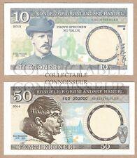 Greenland / Denmark 10 50 Kroner UNC SPECIMEN Test Note Banknote Set - 2 pcs