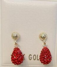 New 14k Solid Gold Crystal Red Briolette Earrings